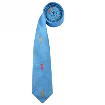 Turquoise Blue Cocktails English hand made Skinny Tie