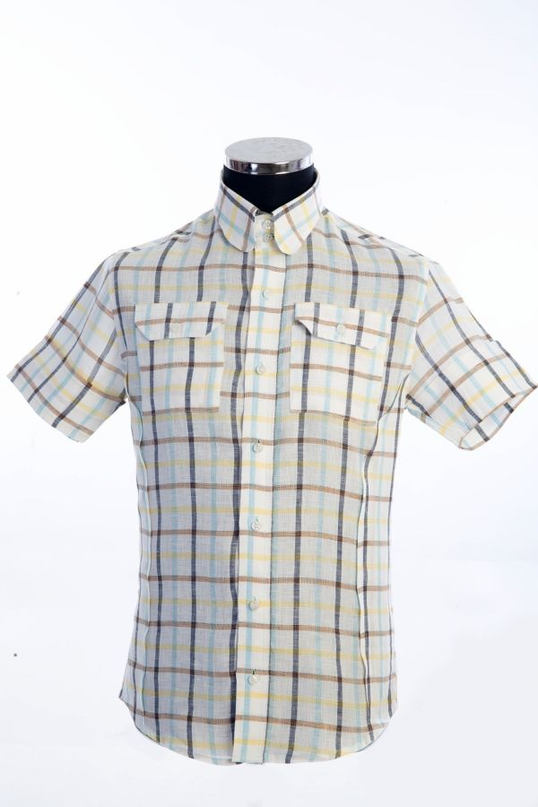 check shirt 100%Linen size2xL(1), £140 Now £70 code009
